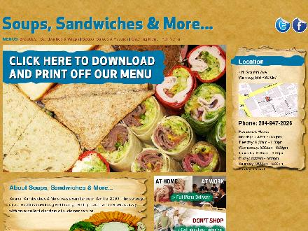 Soups Sandwiches & More (204-947-2026) - Website thumbnail - http://www.soupssandwichesandmore.ca