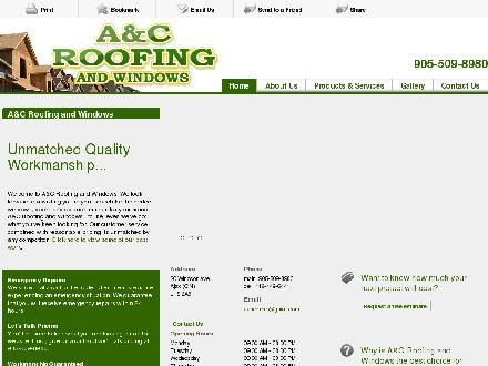 A&amp;C Roofing And Windows (905-509-8980) - Onglet de site Web - http://aandcroofingandwindows.com