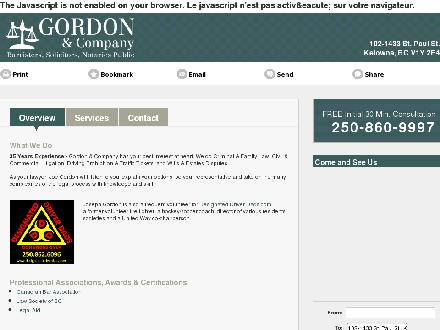 Gordon & Co (250-860-9997) - Onglet de site Web - http://gordoncolaw.com/