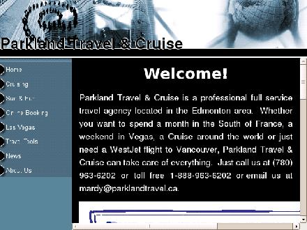 Parkland Travel (780-963-6202) - Website thumbnail - http://www.parklandtravel.ca