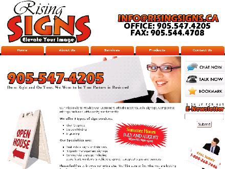 Rising Signs (905-547-4205) - Website thumbnail - http://www.risingsigns.ca