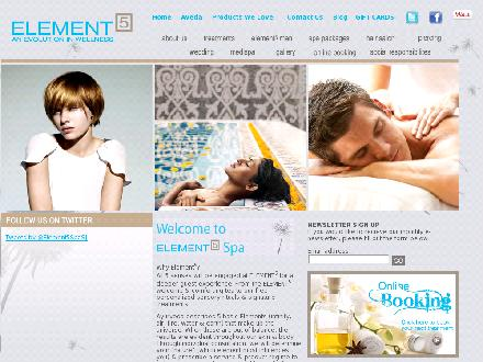 Element 5 Day Spa (1-855-224-8890) - Onglet de site Web - http://www.element5spa.ca