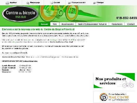 Centre du Bicycle Rive-Sud (418-832-6455) - Onglet de site Web - http://www.bicyclerivesud.com