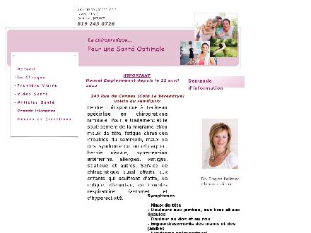 Clinique Santé Chiropratique (819-243-0726) - Website thumbnail - http://www.drpelletierchirogatineau.com
