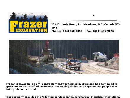 Frazer Excavation Ltd (604-460-0355) - Onglet de site Web - http://www.frazerexcavation.ca