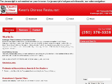 Kwan's Chinese Restaurant (250-376-3328) - Onglet de site Web - http://kwanschineserestaurant.ca