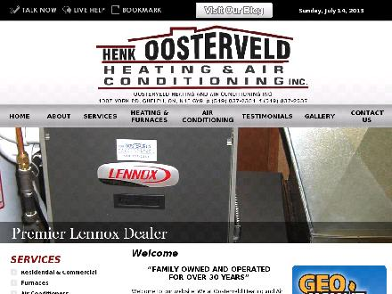 Oosterveld Henk Heating & Air Conditioning Inc (226-314-1084) - Website thumbnail - http://www.oosterveldheating.com
