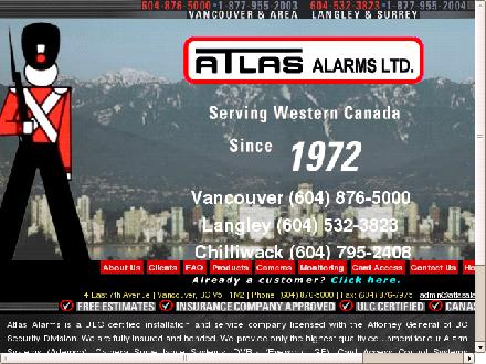Atlas Alarms (604-876-5000) - Website thumbnail - http://www.atlasalarms.com