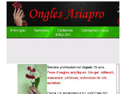 Ongles Asiapro (514-387-0770) - Onglet de site Web - http://www.onglesasiapro.com
