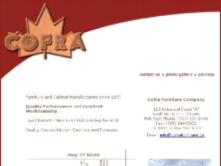 Cofra Furniture & Cabinets (705-254-2400) - Website thumbnail - http://www.cofrafurniture.ca