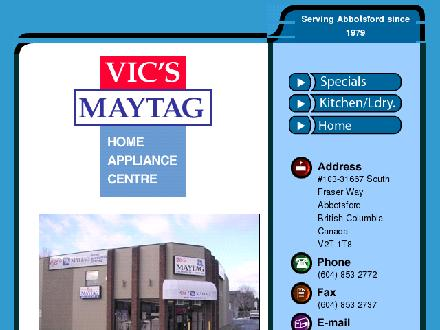 Vic's Maytag Home Appliance Center (604-852-5310) - Onglet de site Web - http://www.vicsmaytag.com