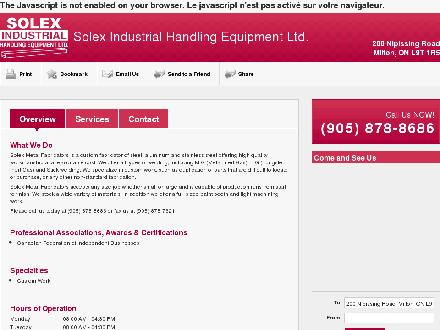 Solex Indstrl Handling Equipment Ltd (905-878-8686) - Onglet de site Web - http://solexmetalfabricators.ca