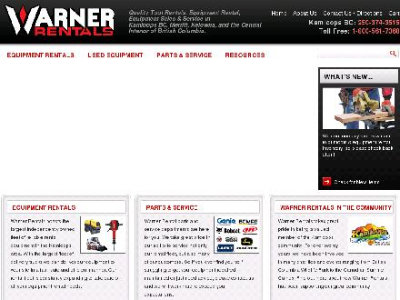 Warner Rentals Ltd (250-374-3515) - Onglet de site Web - http://www.warnerrentals.bc.ca