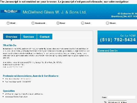 McClelland Glass Centre Ltd (519-752-5434) - Onglet de site Web - http://mcclellandglass.ca