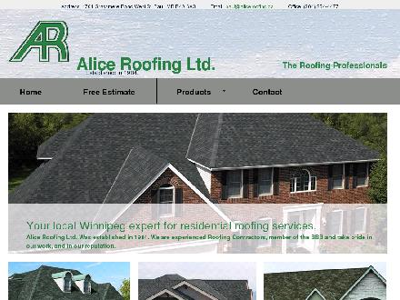Alice Roofing Ltd (204-254-4477) - Website thumbnail - http://www.aliceroofing.ca