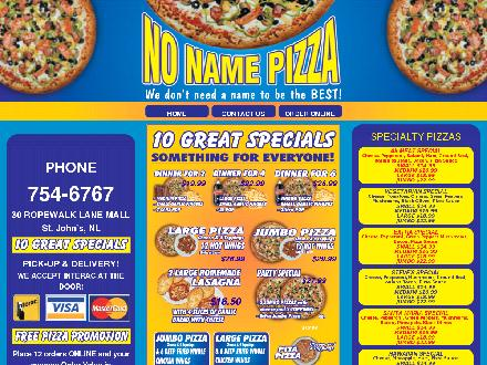 No Name Pizza (709-754-6767) - Website thumbnail - http://www.no-namepizza.com