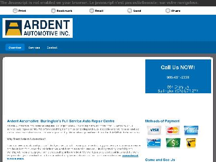 Ardent Automotive Inc. (905-681-9338) - Onglet de site Web - http://ardentautomotive.ca