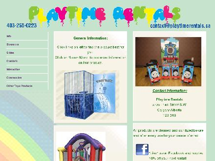 Playtime Rentals (403-258-0223) - Onglet de site Web - http://www.playtimerentals.ca