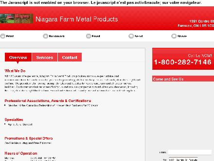 Niagara Farm Metal Products (905-892-5176) - Website thumbnail - http://niagarafarmmetalproducts.ca/