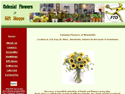 Colonial Flowers & Gift Shoppe (613-342-3455) - Onglet de site Web - http://www.brockvillecolonialflowers.ca