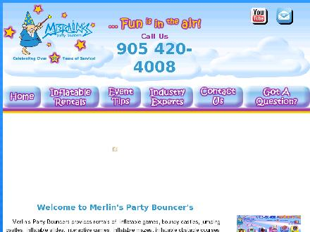 Merlin's Party Bouncers (905-420-4008) - Onglet de site Web - http://www.merlinsparty.com