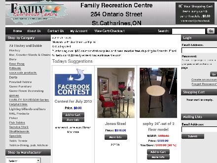 Family Recreation Centre (905-641-0841) - Onglet de site Web - http://www.familyrecreationcenter.com