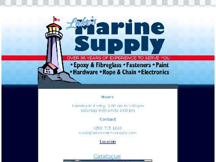 Lake's Marine Supply (250-715-1080) - Website thumbnail - http://www.lakesmarinesupply.com