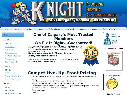 Knight Plumbing & Heating Air Conditioning (403-767-0971) - Website thumbnail - http://www.knightplumbing.ca