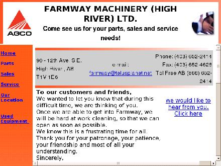 Farmway Machinery (High River) Ltd (403-652-2414) - Onglet de site Web - http://www.farmwaymachinery.com