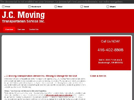 J C Moving Transportation Service Inc (416-402-8808) - Onglet de site Web - http://www.jcmoving.ca