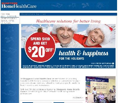 Shoppers Home Health Care - Onglet de site Web - http://www.shoppershomehealthcare.ca