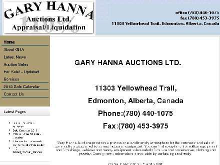 Gary Hanna Auctions Ltd (780-440-1075) - Website thumbnail - http://www.auctions.ca
