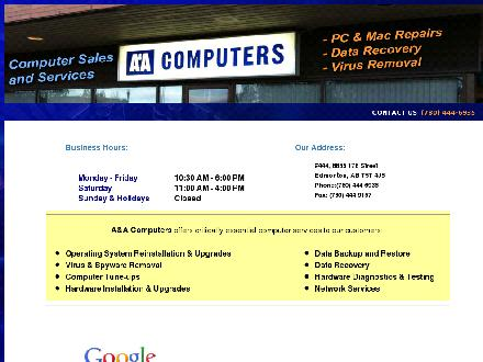 A&A Computers Inc (780-444-6935) - Website thumbnail - http://www.aa-computers.com