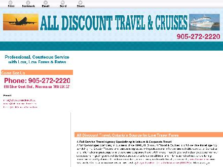 All Discount Travel And Cruises (905-272-2220) - Website thumbnail - http://alldiscounttravel.ca