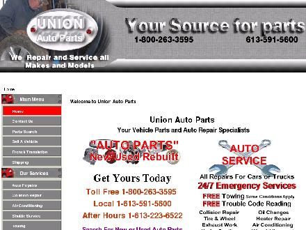 Union Auto Parts (1997) Ltd (613-604-0352) - Onglet de site Web - http://www.usedcarparts.ca