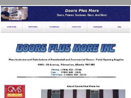 Doors Plus More Inc (780-433-5700) - Website thumbnail - http://www.doorsplusmore.com