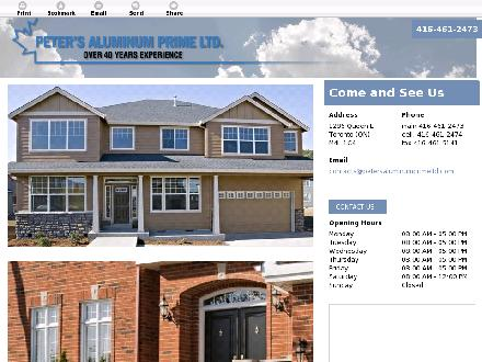Peter's Aluminum Prime Ltd (416-461-2473) - Website thumbnail - http://petersaluminumprimeltd.com