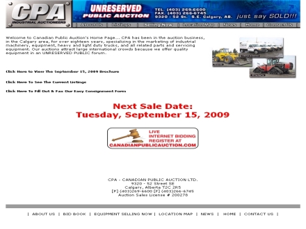 Canadian Public Auction Ltd (403-269-6600) - Onglet de site Web - http://www.canadianpublicauction.com