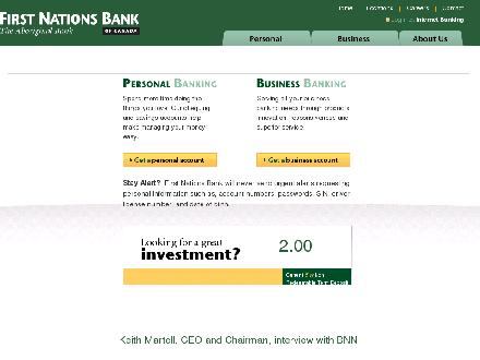 First Nations Bank of Canada (867-456-3622) - Onglet de site Web - http://www.firstnationsbank.com