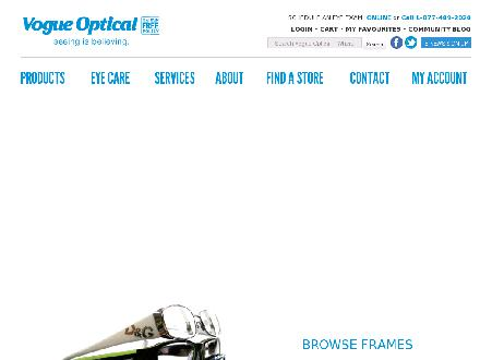 Vogue Optical (1-877-489-2020) - Website thumbnail - http://www.vogueoptical.com