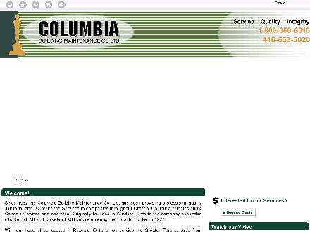 Columbia Building Maintenance Co Ltd (416-663-5020) - Onglet de site Web - http://www.cbmontario.com
