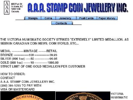 A A A Stamp Coin Jewellery Inc (250-384-1315) - Website thumbnail - http://www.aaacoinandstamp.com