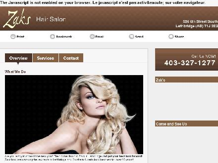 Zak's (403-327-1277) - Onglet de site Web - http://zakshairsalon.com/