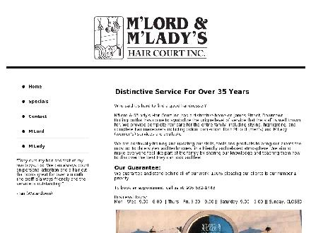 M'Lord & M'Lady's Hair Court Inc (289-812-1295) - Website thumbnail - http://www.mlordmladys.com