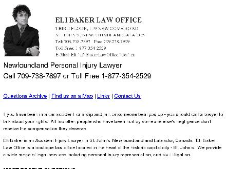 Baker Eli Law Offices (709-738-7897) - Onglet de site Web - http://www.bakerlawoffice.ca