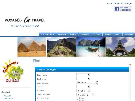 Voyages G Travel (819-777-2522) - Website thumbnail - http://www.voyagesgtravel.com