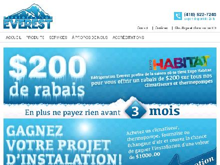 Réfrigération Everest (418-622-7245) - Onglet de site Web - http://www.refrigerationeverest.com