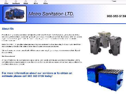 Metro Sanitation Ltd (902-562-5139) - Website thumbnail - http://metrosanitation.ca/