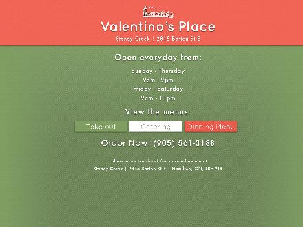 Valentino's Place (905-561-3188) - Onglet de site Web - http://www.valentinosplace-stoneycreek.com