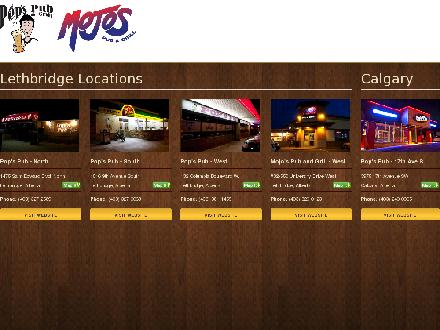 Pop's Pub South (403-327-0068) - Onglet de site Web - http://www.popspub.ca